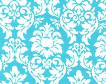 """SALE FABRIC - Dandy Damask Turquoise by Michael Miller Fabrics - 100% Cotton Fabric - 1 yard + 10"""" remnant - OOP fabric - Turquoise Damask"""