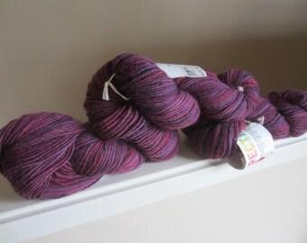 3 Skeins Springwater Fiber Workshop Hand Dyed Yarn, Wool Mohair Blend, Worsted Weight, 570 yds. Total, Violet Shades