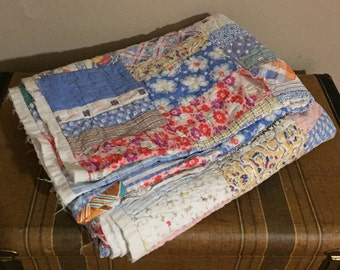 Vintage Quilt Scrap Patchwork Blanket Shabby Chic Floral Calico Distressed Rustic Farmhouse Antique Cottage Picnic