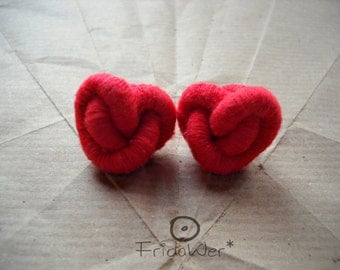 Red Heart knot stud Earrings-ThousandKnots Heart by FridaWer-Red heart,heart knot,textile necklace,fiber necklace,knot earrings,love jewelry