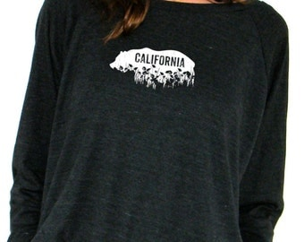 California Grizzly Pullover - California Poppies Screenprint - American Apparel Raglan Pullover - Small, Medium, Large