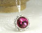 Ruby Crystal Necklace, Fuchsia Swarovski Rhinestone Pendant, Sterling Silver, July Birthday Birthstone, Bridesmaid Jewelry Gift