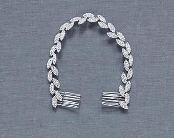 Silver Leaf Headband | Silver Hair Vine | Wedding Hair Accessories | Bridal Headband | Silver Leaf Comb[Gilded Ivy Hair Vine]