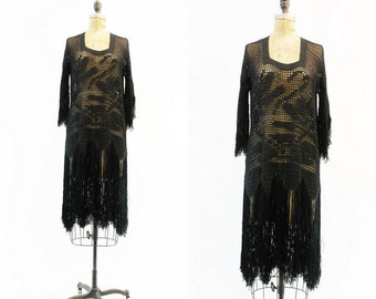 1920s Dress Fringe Small Medium / 1920s Crochet Lace Knit Vintage Dress / Zelda Fitzgerald Dress