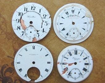 Vintage Antique porcelain pocket Watch Faces - Steampunk - Scrapbooking k15
