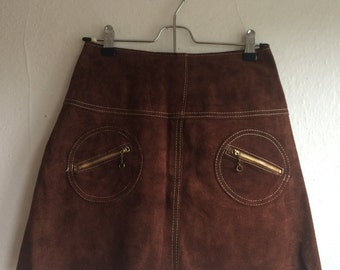 Brown Real Suede Leather '70s High Waist A-Line Mini Skirt with Round Zipper Pockets - Extra Small to Small