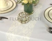 """Off White Light Ivory Lace Table Runner Wedding Table Runner Floral Swirl 7"""" wide"""