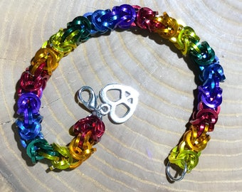 Rainbow Pride LGBTQ Chainmaille Bracelet or Anklet with Heart Peace Sign Charm