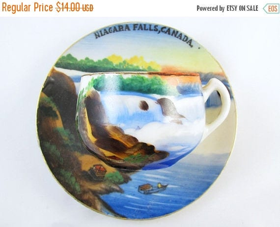 SPRING CLEANING SALE Vintage hand painted Nigara Falls Canada / souvenir / demitasse cup and saucer / porcelain / china / bone china / tea /