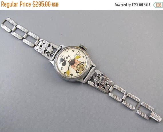 SPRING CLEANING SALE Running Vintage Ingersoll Mickey Mouse character wrist watch original chrome band Art Deco 1930s