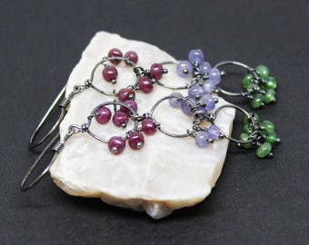 Ruby, Tanzanite, and Emerald Gemstones . Oxidized Sterling Silver Dangle Earrings . Raspberry Red, Perriwinkle Blue, and Green . E17075