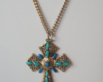 Gold Tone  with Teal and Turquoise Blue Enameled Crucifix Necklace. OOAK