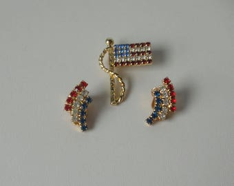 Gold tone Red, White and Blue Patriotic Flag Brooch and Earrings set.