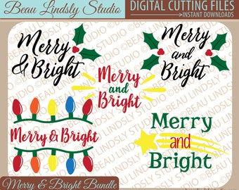 Christmas SVG, Merry And Bright SVG, Holiday SVG File For Silhouette, svg File For Cricut Projects, Christmas Word Art, Christmas dxf File