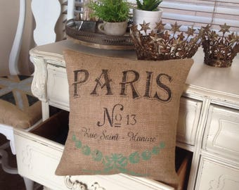 French Grain Sack  Burlap Pillow   Farmhouse/Paris Apartment/Beach Bungalow