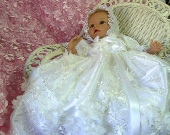 GOWN White 3D Floral  Tulle REBORN or BABY Christening Pageant Wedding