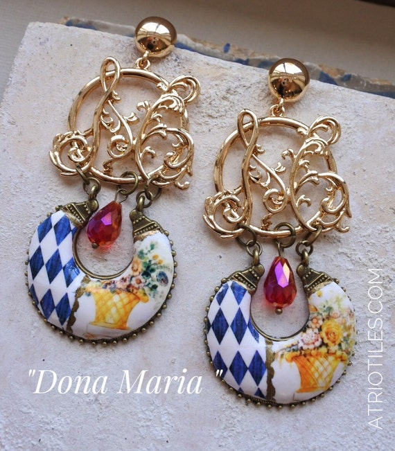 DONA MARIA Queen of Portugal Antique Azulejo Tile and Fresco Earrings - Palace of Queluz,  Neoclassic Versailles Renaissance M for Maria