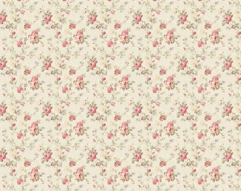 Dollhouse Miniature Small Scale Computer Printed Fabric Light Pink Roses Floral