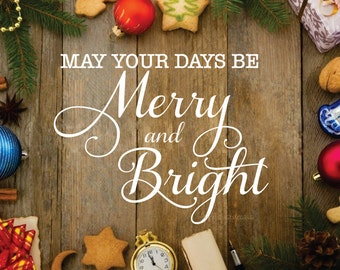 Christmas Decal, Merry and Bright, holiday wall decal, script letters, vinyl wall word, Christmas sticker decals, make your own sign decal