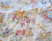 """Vintage Nursery Rhyme Quilt Blanket 40 x 50"""" / Hand Quilted / Mother Goose design / cats ducks cows chickens  childs quilt / childs blanket"""
