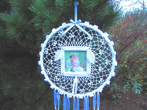 Wedding Dreamcatcher. Handmade, crocheted, wedding, pictures, ribbons, heart beads, unique, home, cotton, yarn, love, marriage, keepsake.