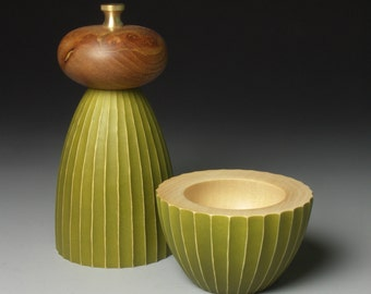 Avocado and Burr Elm Mill and Salt Bowl