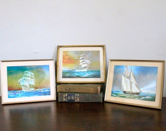 Set of Three Vintage Framed Foil Ship Prints