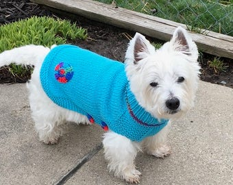 Appliqued Dog Sweater, Hand Knit Sweater for Pet, Full Length, Size SMALL, Jumper Turquoise with Button Sides