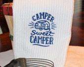 Camp Sweet Camper Blue Embroidered Kitchen Towel