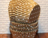 Gold Polka Dot Heavy Duty Cupcake Liners  (Qty 40)  Gold Dot Baking Cups, Gold Cupcake Liners, Gold Baking Cups, Golf Muffin Cups