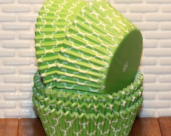Lime Green Quatrefoil Cupcake Liners  (Qty 45)  Lime Green Quatrefoil Muffin Cups, Lime Green Quatrefoil Baking Cups, Lime Green Baking Cups