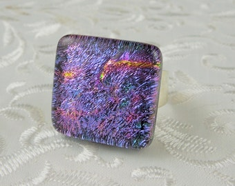Geekery Jewelry - Dichroic Fused Glass Ring - Metal Ring - Large Jewelry - Glass Ring - Fused Glass Ring - Dichroic Jewelry X4199