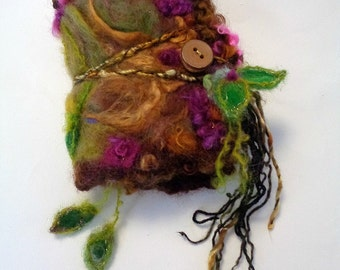 felted wool journal art book  - enchanted forest art diary - wild forest hearts fantasy journal