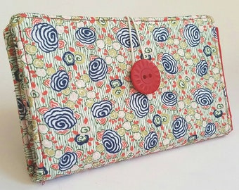 Rosey Floral Tampon and Pad Holder Navy Blue Poppy Red