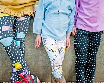 Children's Modern Abstract Colorful Leggings. 12mths-8 years