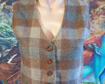 Wool vest, Reversible vest, Plaid vest, Brown grey vest, size XS