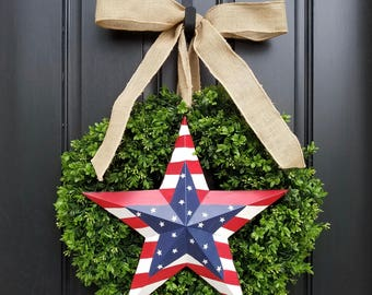 BOXWOOD WREATH, July 4th Door Wreaths, SUMMER Boxwood Wreath, Artificial Boxwood Wreaths, Red, White and Blue Decor, Fourth of July Decor