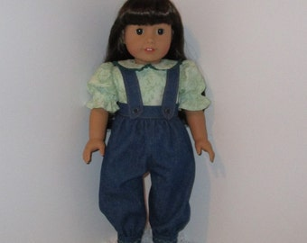 "Jean Overalls and Green Blouse, Fits 18"" Dolls // AG Doll Clothes, AG Pant Set, American Girl Jeans, Doll Overall Set, Green Shirt"