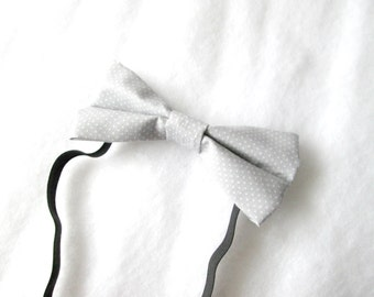 Gray and White Polka Dot Elastic Bow Tie