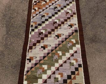 Geometric Rug, Handwoven Squares and Diamonds in Brown, Lavender, Sage Green and Off White