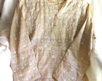 Vintage Silk Tunic with Embroidery Raw Silk Dupioni in Light Caramel with Ivory Cotton Embroidered Hearts and Flowers Size S/M