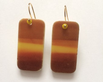 Domino Earrings, Setting Desert Sun, earrings, image transfer, beach earrings, rectangle earrings