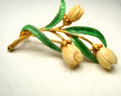 J J Spring TULIP Flower Pin, 1950s Green Hand Painted Enamel Leaves w Off White Carved Oxbone Blossom, Goldtone Brooch