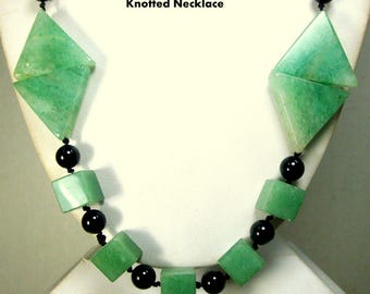 RESERVED Snarkhunter, Green Aventurine Stone Bead Geometric Necklace, Hand Knotted With Black Onyx Beads, 1990s
