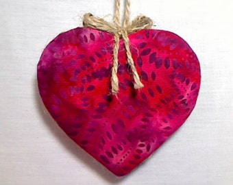 Large Cranberry Red Heart Ornament | Bridal/Wedding | Party Favor | Handmade Gift | Valentine's Day | Tree Ornament | Heart Decoration | #1