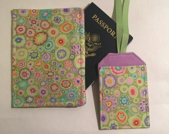 Passport Cover and Luggage Tag, Beautiful Lime Klimt Print, Feminine Passport Wallet and Luggage Tag, passport cover, vegan