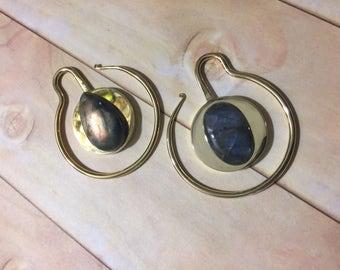 brilliant rainbow labradorite asymmetrical brass earweights
