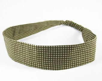 """40% off Fabric Headband - Olive Gingham - Pick your size - fit toddlers to adults - 1-1/2"""" wide"""