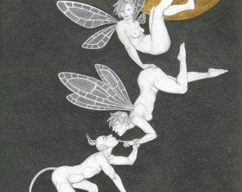 "Original drawing, fairies and a devil under the moon, in pencil and gold leaf - ""Three's a Crowd"" - art by Nancy Farmer (unframed)"