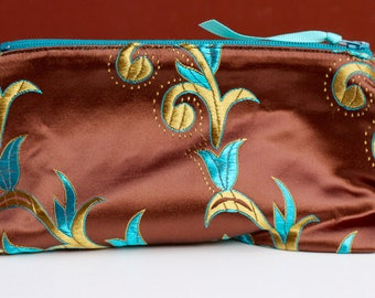 Brown and Teal Brocade Ditty Bag
